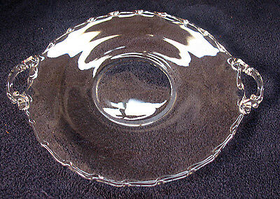 "Century Crystal Muffin Plate or Tray Handled 9 1/2""  Fostoria Glass, Vintage"