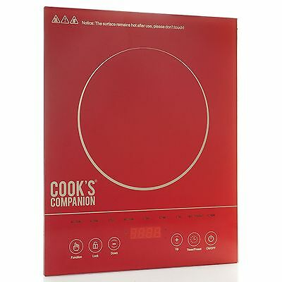 Cook's Companion 1500W LED Colored Glass Programmable Induction Cooker Red New