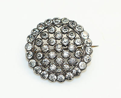 Antique late Georgian early Victorian Paste Stones Diamante Silver Tone brooch