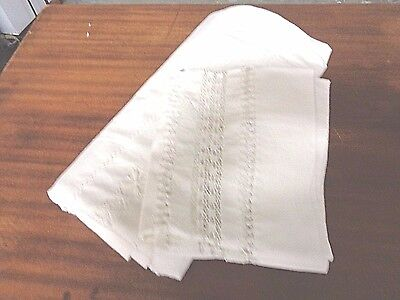 Antique White linen Trousseau Bed sheet and pillow cover Drawn Needle Work
