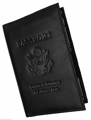 New Black  USA Passport Cover Holder Wallet Travel Case