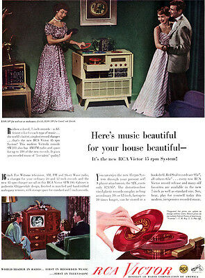 RCA Victor 45 rpm System Record Player EYE WITNESS TV Beautiful Music 1949 Ad