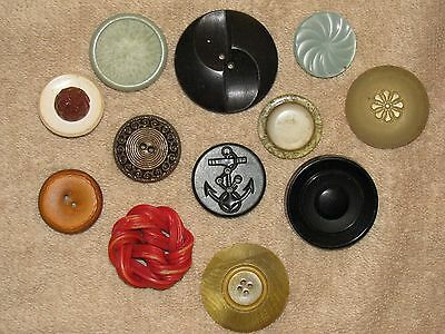 """Lot of 12 Different -- Large Vintage Buttons   1"""" to 1-3/4"""" Size"""