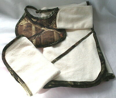 Mossy Oak Camo Camouflage 4Pc Baby Infant Bath Towel Gift Set - Burp Rag, Bib