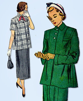 1940s Vintage Simplicity Sewing Pattern 2689 Misses Maternity Suit Size 30 Bust