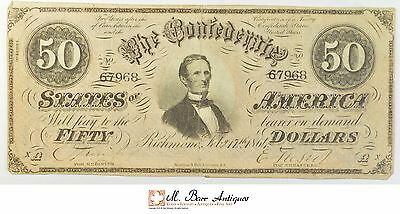 1864 $50.00 Confederate States Of America Large Size Horseblanket Note *744