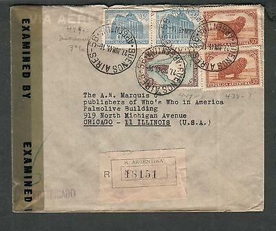 Argentina WWII registered censor cover Buenos Aires to Whos Chicago IL via Miami