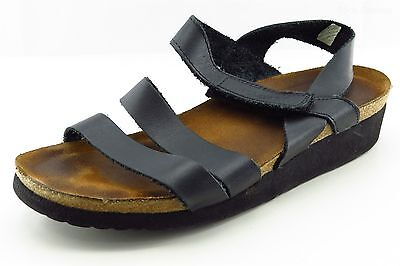 Naot Strappy Black Leather Women Shoes Size 7 Medium