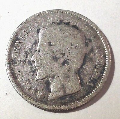 1865-R Guatemala 1 Real silver coin, KM#137.1, better date