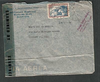 Argentina WWII censor cover Buenos Aires to Chicago/stamps missing when received