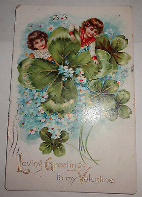 Antique Victorian PostCard Valentines Day Four Leaf Clover 1906 Post Card