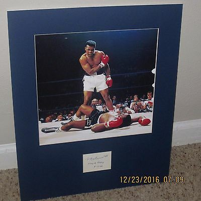 """Muhammad Ali Autographed Index Card w/ Photo Matted """"King of Boxing"""" Inscription"""
