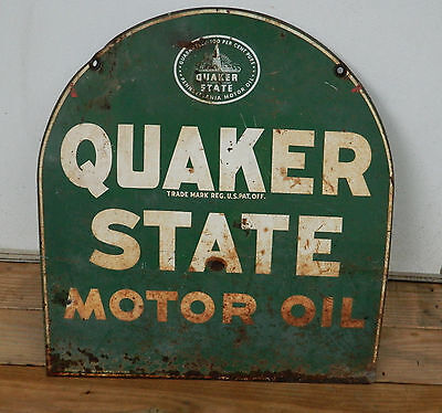 VIntage 1950's Quaker State Motor Oil Tombstone Metal Double Sided Sign