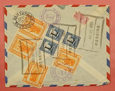 1951 Colombia Pereira Cancel Registered Airmail Cover To Usa