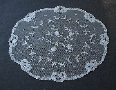 Antique Hand Embroidery Flowers & Leaves Tulle Lace Doily Great For Repurpose