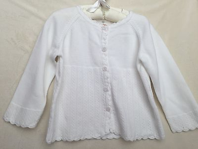 Hanna Andersson White Cotton Cardigan Sweater Size 80
