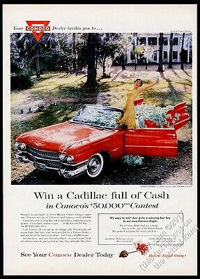 1959 Cadillac convertible red car photo Conoco gas vintage print ad