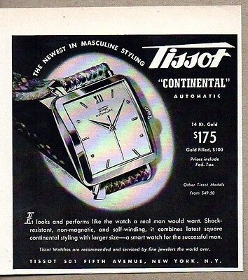 1955 Print Ad Tissot Continental Automatic Mens Wrist Watch Watches New York,NY