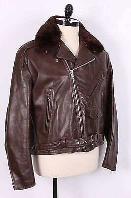 Vtg 70S Lesco Leather Motocycle Coat Jacket With Liner Usa Mens Size 48