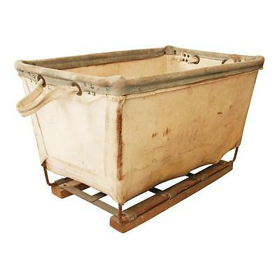 Vintage CANVAS BIN dandux loft factory steampunk basket storage cart laundry box