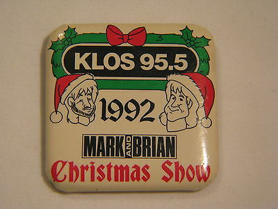 Klos 95.5 Mark And Brian 1992 Christmas Show Square Button Pin Pinback