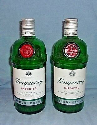 2 Tanqueray Imported Gin Bottles Empty 750ml