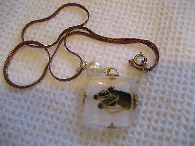 RACING HORSE HEADS NECKLACE Reverse carved & painted Vintage intaglio glass