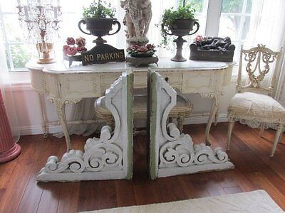 OMG Large PAIR Old Architectural CORBELS ORNATE Design Chippy White 3' Tall