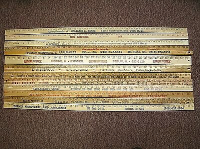 Lot of 13 Vtg & New Advertising Yardsticks Amish Country OH (1 Squ) Phillips 76