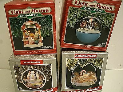 Lot of 4 Vintage Hallmark Keepsake Ornaments Light and Motion