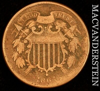 1864 Two Cent- Scarce !! Better Date !! #u399