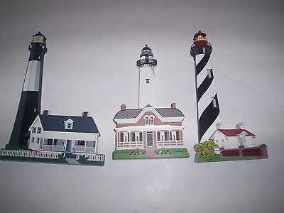 SHELIA'S COLLECTIBLES LOT of 3 Wooden LIGHTHOUSE ST AUGUSTINE SIMONS  TYBEE