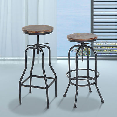 Vintage Bar Stool Metal Wooden Industrial Retro Seat Kitchen Adjustable Height