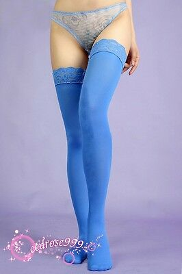 top Lace blue Thigh Highs Stockings LINGERIE tights hosiery 468j