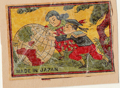 Old Japan Matchbox Labels Children Pushing Gloge On Paper With Hinge