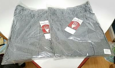 Nwt Lot Of 2 New Chef Works Black & White Checkered Pants Size Large