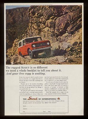 1964 International Scout red SUV photo vintage print ad