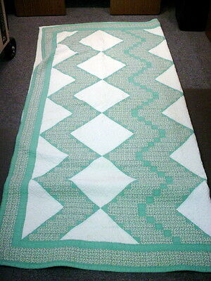 """Vintage Handmade Green and White 80"""" x 76"""" Quilt"""