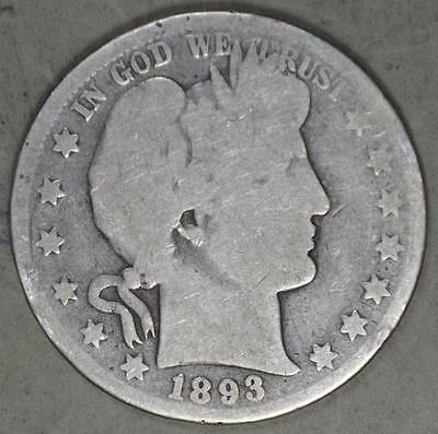 1893 Barber Half Dollar Silver Coin