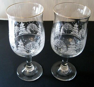 2 Arby's Restaurant Tulip Holiday Water Goblets Winter Snow White Frosted Trees