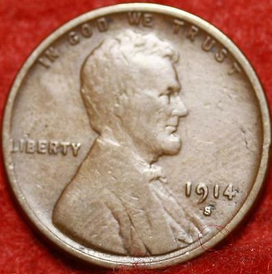 1914-S San Francisco Mint Copper Lincoln Wheat Cent Free Shipping