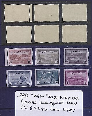 Canada #268-273 Mint O.G. Never Hinged CV $81.50