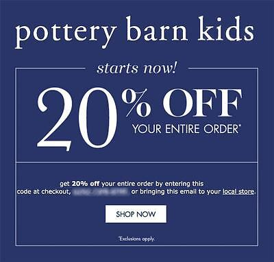 Save 25% at Pottery Barn Kids with coupon code GIF (click to reveal full code). 17 other Pottery Barn Kids coupons and deals also available for Decem.
