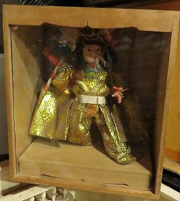 Vintage Japanese Gofun Warrier Doll in Original Wooden Box