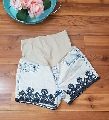 Tala Maternity Jean Shorts Size Medium Denim Embroidered Spandex Stretch