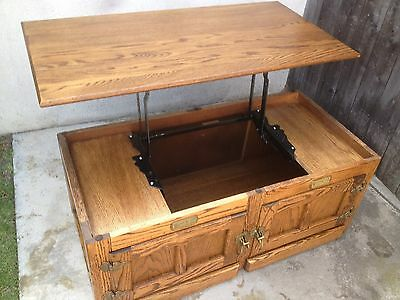 White Clad Oak Ice Box Coffee Table Lift top Vintage