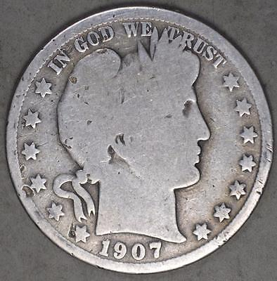1907 Barber Half Dollar Silver Coin
