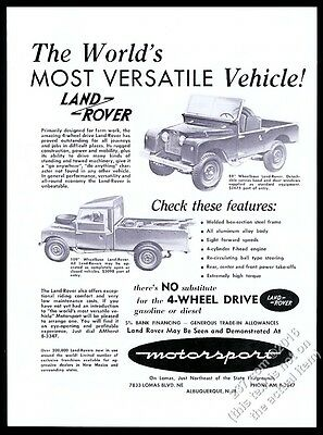 1958 Land-Rover pickup truck and 88' wb SUV photo unusual local NM print ad