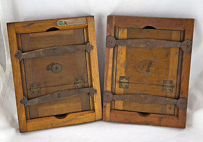Two Antique WOOD CONTACT PRINT FRAMES Large Format Camera Film Photography Glass