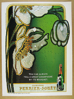 1994 Perrier-Jouet Champagne flower bottle photo vintage print Ad